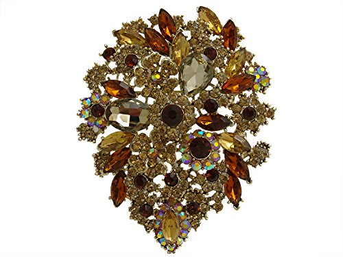 Art Nouveau Pin Brooch (TTjewelry Classic Style Crystal Rhinestone Droplets Flower Art Nouveau Brooch Pins B10390500 (Brown))