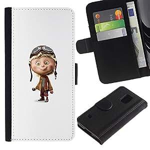 KLONGSHOP / Tirón de la caja Cartera de cuero con ranuras para tarjetas - Pilot Airplane White Character Children'S - Samsung Galaxy S5 V SM-G900