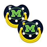 Baby Fanatic NCAA 2 Pack Baby Pacifier University of Michigan, Glow in the Dark