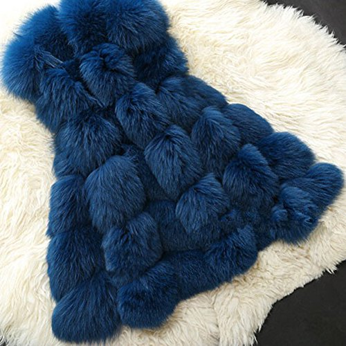 Pour Sans Vest En Gilet Marine Fausse Coat Manteau Long Blue Femme Fourrure Manches RFzqSpp
