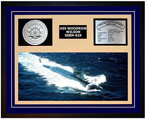 Navy Emporium USS Woodrow Wilson SSBN 624 Framed Navy Ship Display Blue