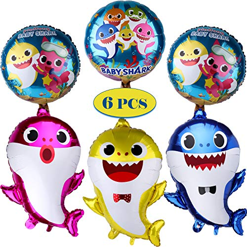 Tinabless Baby Cute Shark Party Supplies, Shark Balloons for Baby Birthday Decorations Children Birthday Doo Doo Party Balloons Set (6 Pcs) ()