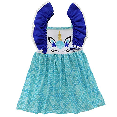 So Sydney Toddler Girls Flutter Short Sleeve or Lace Tank Cascading Ruffle Dress (2T (XS), Seashell Unicorn) -