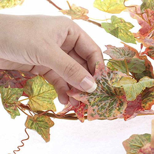 Pair of Colorful Flocked Autumn Grape Leaf Garlands for Arranging, Crafting and Embellishing