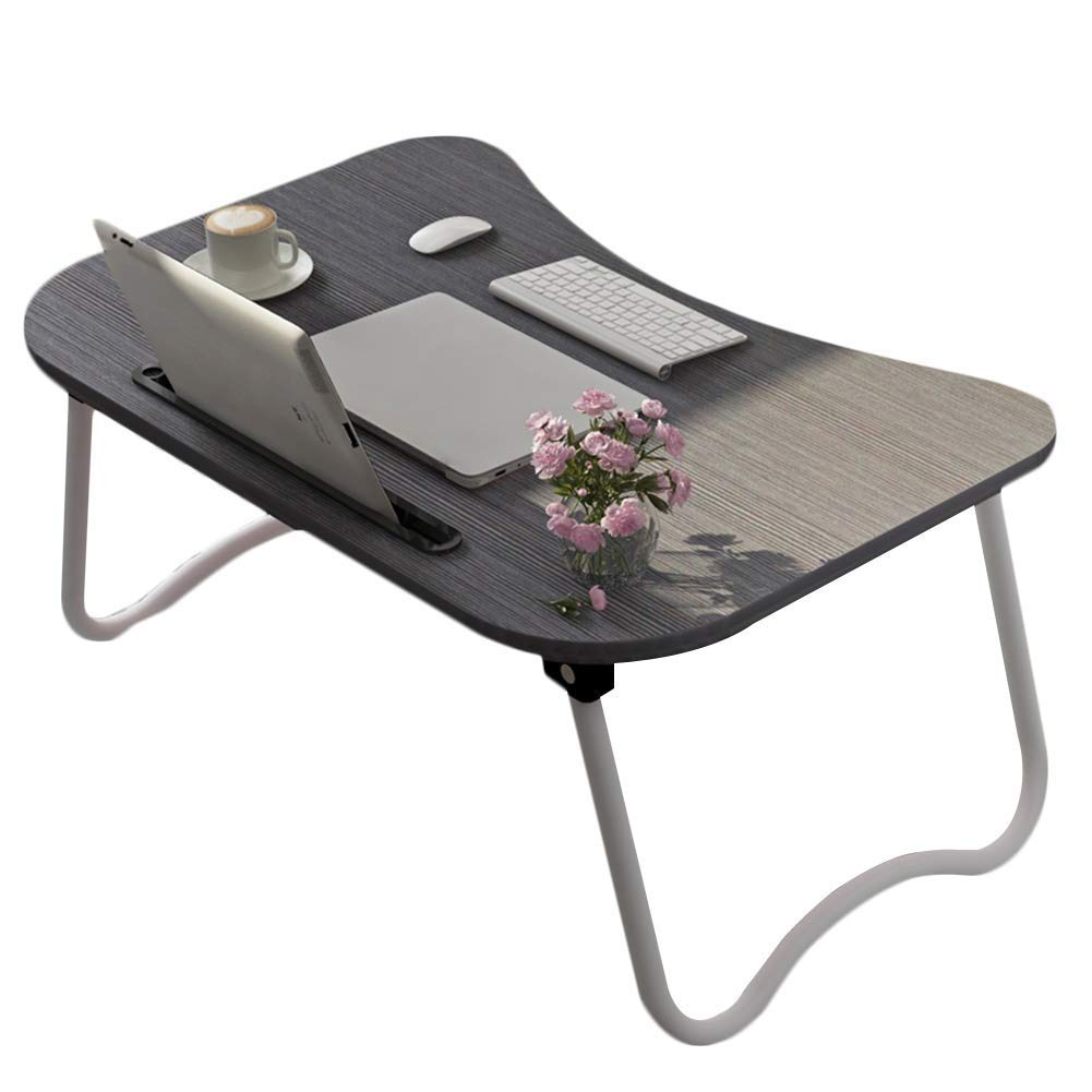 Small Bed Table Laptop Desk Breakfast Serving Tray Lazy Holder Foldable Portable Multifunction 6 Colors GAOFENG (Color : Black, Size : 604028CM)