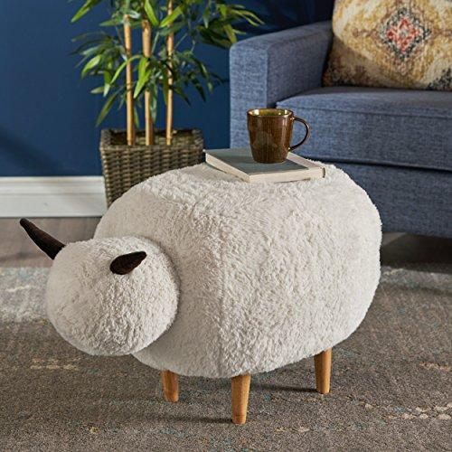 Brebis White Velvet Sheep Ottoman by Great Deal Furniture