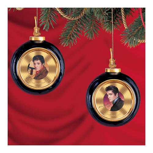 Solid Gold Elvis Presley Heirloom Porcelain Ornament Set One: Set Of Two by The Bradford Editions - Bradford Edition Ornaments