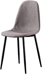 YB&GQ Set of 2 Dining Chair for Kitchen,mid Century Modern Eames Chairs with Back,Linen Fabric Upholstered Side Chair for Living Outdoor Gray 44x39x84cm(17x15x33inch)