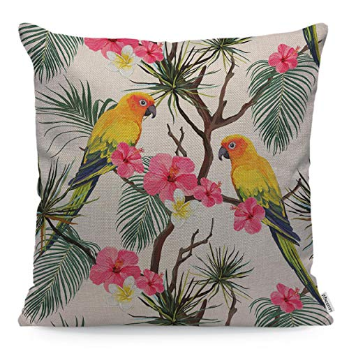 WONDERTIFY Throw Pillow Case Cover Parrot Hibiscus Floral Summer with Jungle Tropical Palm Leaves - Soft Linen Pillow Case for Decorative Bedroom/Livingroom/Sofa/Farm House -Cushion Covers 18x18 -