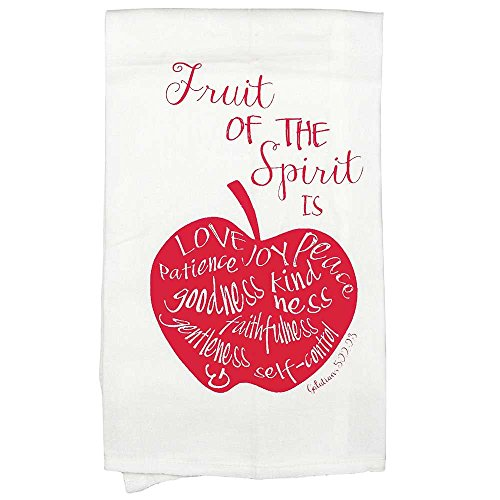 Fruit of the Spirit Galatians 5:22 Red Apple All Cotton 18 x 22 Kitchen Tea Towel Pack of 2