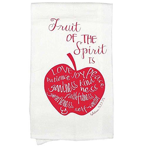 Apple Kitchen Tea Towel - Fruit of the Spirit Galatians 5:22 Red Apple All Cotton 18 x 22 Kitchen Tea Towel Pack of 2