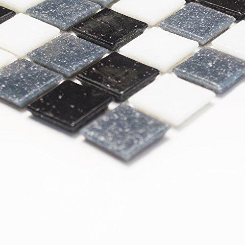 Mosaik Fliesen Glasmosaik Mix Weißgrauschwarz X Matte - Mosaik fliesen frostfest