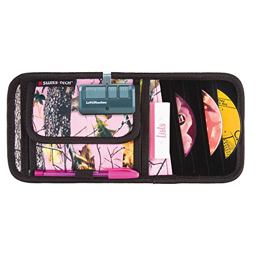 Trunk Cd (mDesign Woods Camouflage Visor Travel Organizer with CD/DVD Holder - Pink Forest/Black)