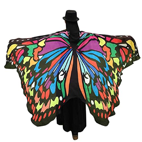 Ikevan Hot Selling Newset Women Girl Soft Fabric Butterfly Wings Shawl Scarf Fairy Ladies Nymph Pixie Costume Accessory 145x65cm (Multicolor (Costumes For 2 Friends)