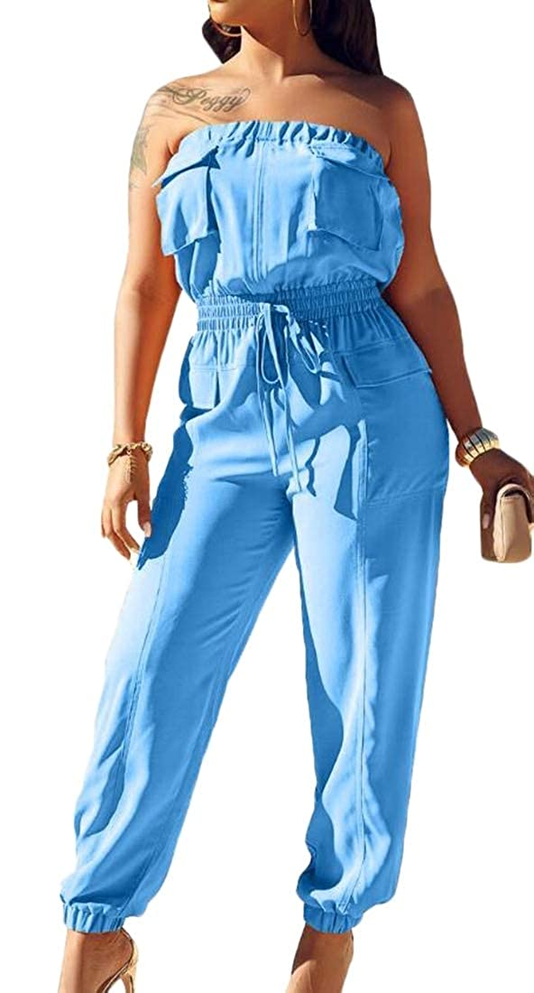 yibiyuan Womens Sleeveless Tube Top Strapless Stretchable Long Jumpsuit Rompers