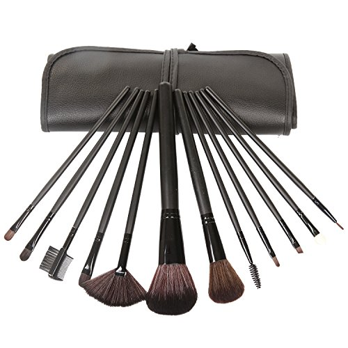 LAVEN 12pcs Makeup Brush Set Soft Nylon with Wooden Handle Roll-up Drawstring Bag, Ideal Christmas Gift for Women