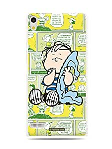 GRÜV Premium Case - 'Peanuts Linus Comic Strip' Design - Best Quality Designer Print on White Hard Cover - for Huawei Ascend P6