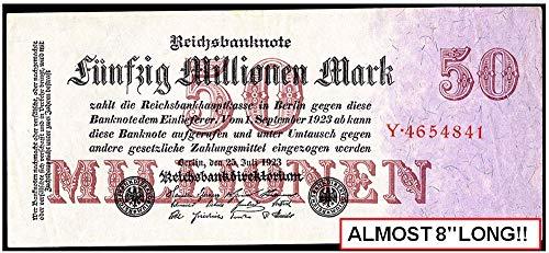 1923 DE RARE UNCIRCULATED LONG FORMAT 50 MILLION MARKS w LAVENDER TINT, BURGUNDY OVERPRINTS! UNIQUE ORNATE GEM! 7.75