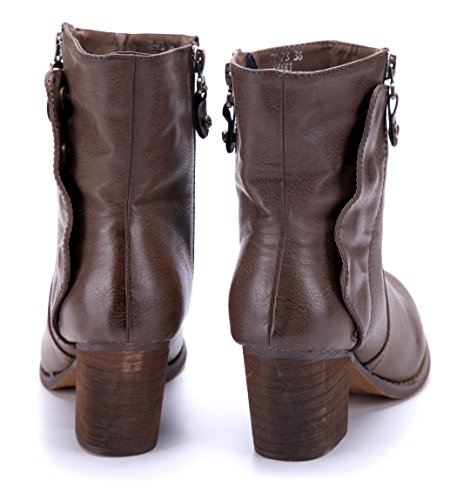 Schuhtempel24 Damen Schuhe Klassische Stiefeletten Stiefel Boots Khaki Blockabsatz Reißverschluss 7 cm