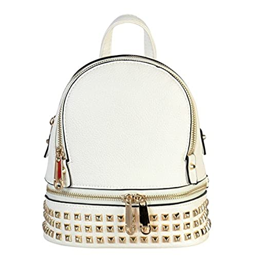 Rimen & Co. PU Leather Golden Studded & Zipper Décor Mini Chic Backpack BB-3851