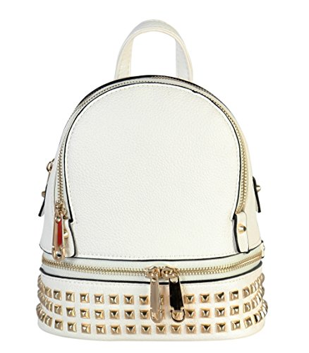 Rimen & Co. PU Leather Golden Studded & Zipper Décor Mini Chic Backpack - Netbook Fashion