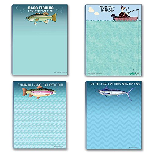 Fishing Theme Pads - 4 Assorted Fish Note Pads made our list of Gifts For Active Women, Gifts For Women Who Hike, Gifts For Women Who Fish, Gifts For Women Who Camp