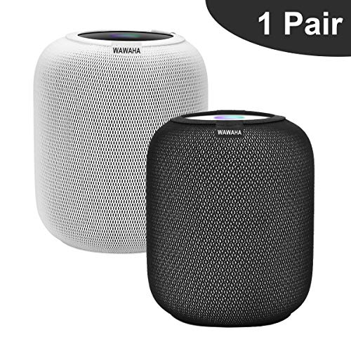 WAWAHA 2pcs Homepod Cover,Elastic Anti-Scratch Dust Proof Protective Cover for Speaker HomePod Accessories (Nylon Black+White)