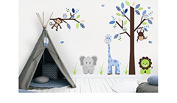 Blue White Decal Baby Boy Nursery C011 D25 Tree Branch Sticker Fabric Nursery Decal Blue Brown Nursery Removable Decal