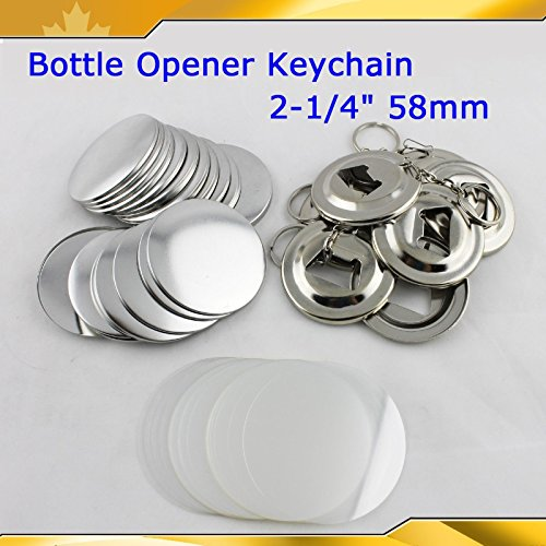 Bottle Opener Keychain 58mm 2-1/4'' Parts 100set Supplies for Pro Maker Machine by Button Maker