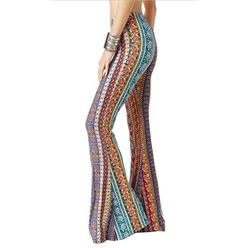 Flare Partywear Festosi Pantaloni Alta Casual A Fiori Vita Vintage Bootcut Marlene Stampati Colore Sera Abiti Donna Eleganti Da Pantaloni 5 F1TdITq