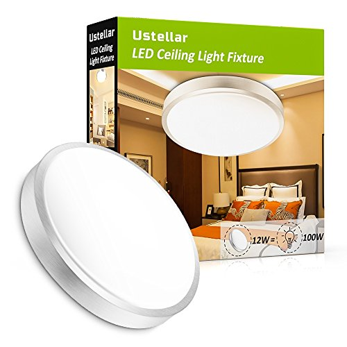 Ustellar 1000lm 12W LED Ceiling Lights,100W Incandescent Bulbs Equivalent, 10in LED Flush Mount Ceiling Light Fixture, 3000K Warm White, for Living Room, Hallway, Office, (Closet Light Fixtures)