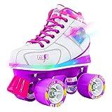 Crazy Skates Flash Roller Skates for Girls | Light Up Skates with Ultra Bright LED Lights and Flashing Lightning Bolt | White Patines (Size 4)