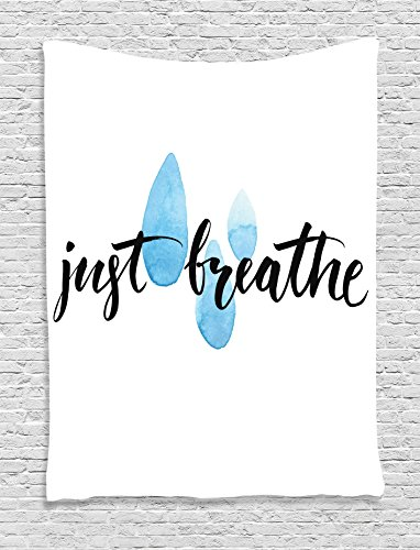 """Ambesonne Quotes Decor Collection, """"Just Breathe"""" Inspiratio"""