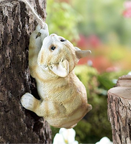 Climbing Critter Hanging Figurine Resin with Twine Rope Indoor Outdoor Yard Animal Garden Decor Sculpture Ornament 5 L x 3.75 W, 31.5 L with String, (Critters Wall)