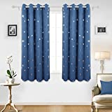 Deconovo Star Foil Thermal Insulated Eyelet Ready Made Blackout Curtains for Nursery 140x175cm Two Panels Dark Blue