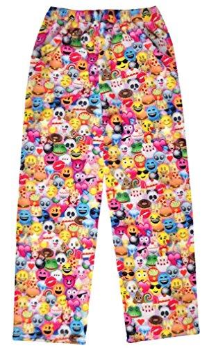 - iscream Big Girls Fun Print Silky Soft Plush Pants - Emoji Collage, Medium
