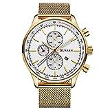 CURREN Watches Mens Brand Luxury Stainless Steel Quartz Watch Men Casual Waterproof Clock Men Sport Wristwatch (gold white)
