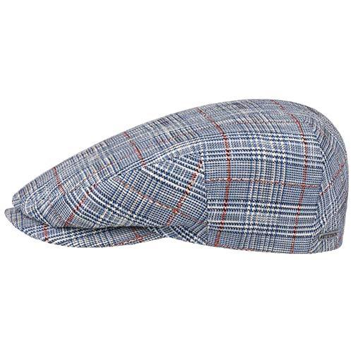 Stetson Kent Classic Check Flat Cap Men Blue 7 1/4 ()