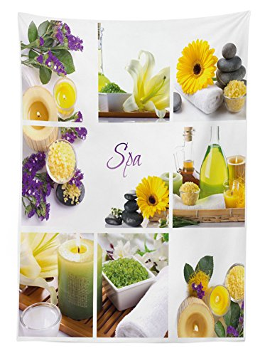 Ambesonne Spa Outdoor Tablecloth, Yellow Happy Peaceful Spa Day with Flowers Candles and Herbal Oils Art, Decorative Washable Picnic Table Cloth, 58 X 84 inches, Yellow Purple and White by Ambesonne (Image #1)