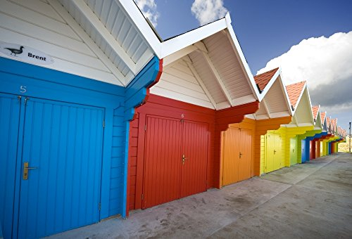 Posterazzi Colorful Beach Huts Scarborough England Europe Poster Print, (17 x ()