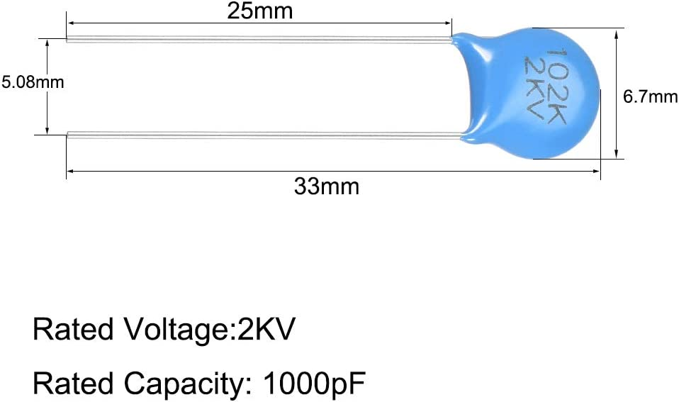 Blue Pack of 50 uxcell Ceramic Capacitor Kit 2KV 1000PF Disc Capacitors for DIY Electronic Circuit