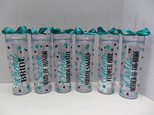 Personalized wedding party tumbler or water bottle -