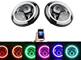 Headlights Bulb RGB 7'' LED Multifunction Halo Angle Eye with Bluetooth Remote for 1997~2017 Jeep Wrangler JK JKU TJ LJ Sport Rubicon 03-'09 Hummer H1 & H2 Headlamp Driving Light DRL