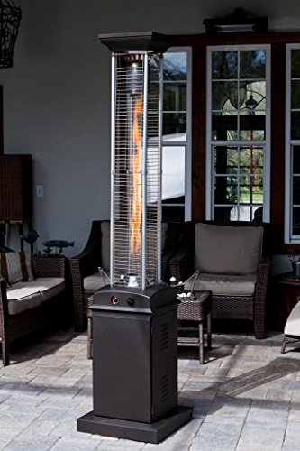 Golden Flame Square Flame Commercial 46,000 BTU (Rich Mocha) Quartz Glass Tube Propane Patio Heater w/Wheels (Patio Heaters Glass Tube compare prices)