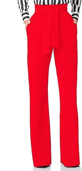 Hissp Pantalones De Trabajo Largos Con Cinturon Cintura Alta Pierna Recta Elasticos Informales Para Mujer Amazon Com Mx Ropa Zapatos Y Accesorios