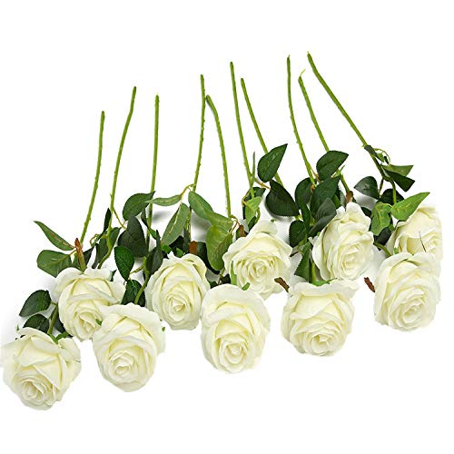 JUSTOYOU 10pcs Artificial Rose Silk Flower Blossom Bridal Bouquet for Home Wedding Decor(Off White)