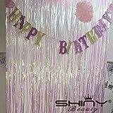 Shinybeauty Folie Fransen Dekoration Geänderte weiß Vorhang für Hochzeit Geburtstag Event Bühne Party Dekoration 3 ftx8ft glitzernde Folie Fring Hintergrund für Hochzeitsfeier (Geänderte weiß)