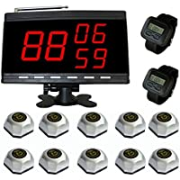 SINGCALL Nurse Calling System,Wireless Paging System,Pack of 10 Bells and 2 Watch Receivers and 1 Display.