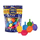 Zion Judaica 30 Medium Plastic Hanukkah Dreidels with English Transliteration - Ziplock Bag