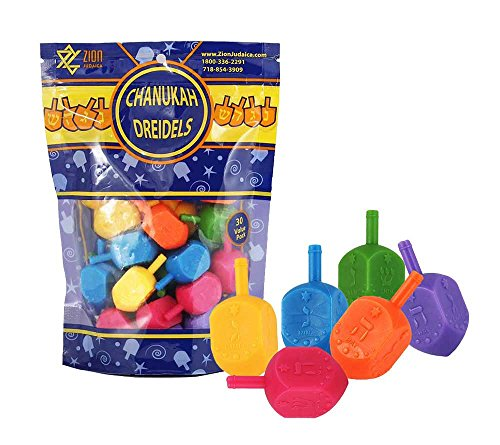 Zion Judaica Medium Plastic Hanukkah Dreidels with English Transliteration - Ziplock Bag (30 Pack)]()
